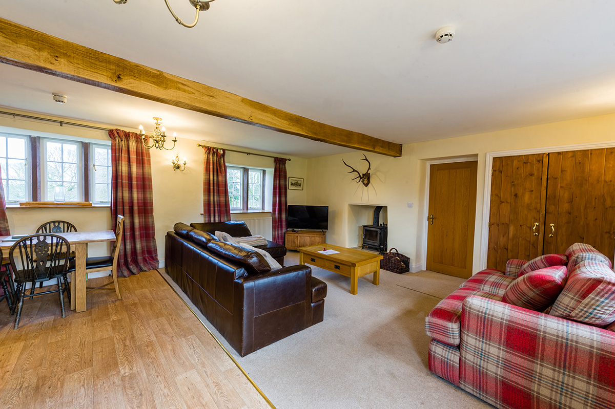 The comfortable lounge in the luxury self-contained holiday cottages at Appleby Castle