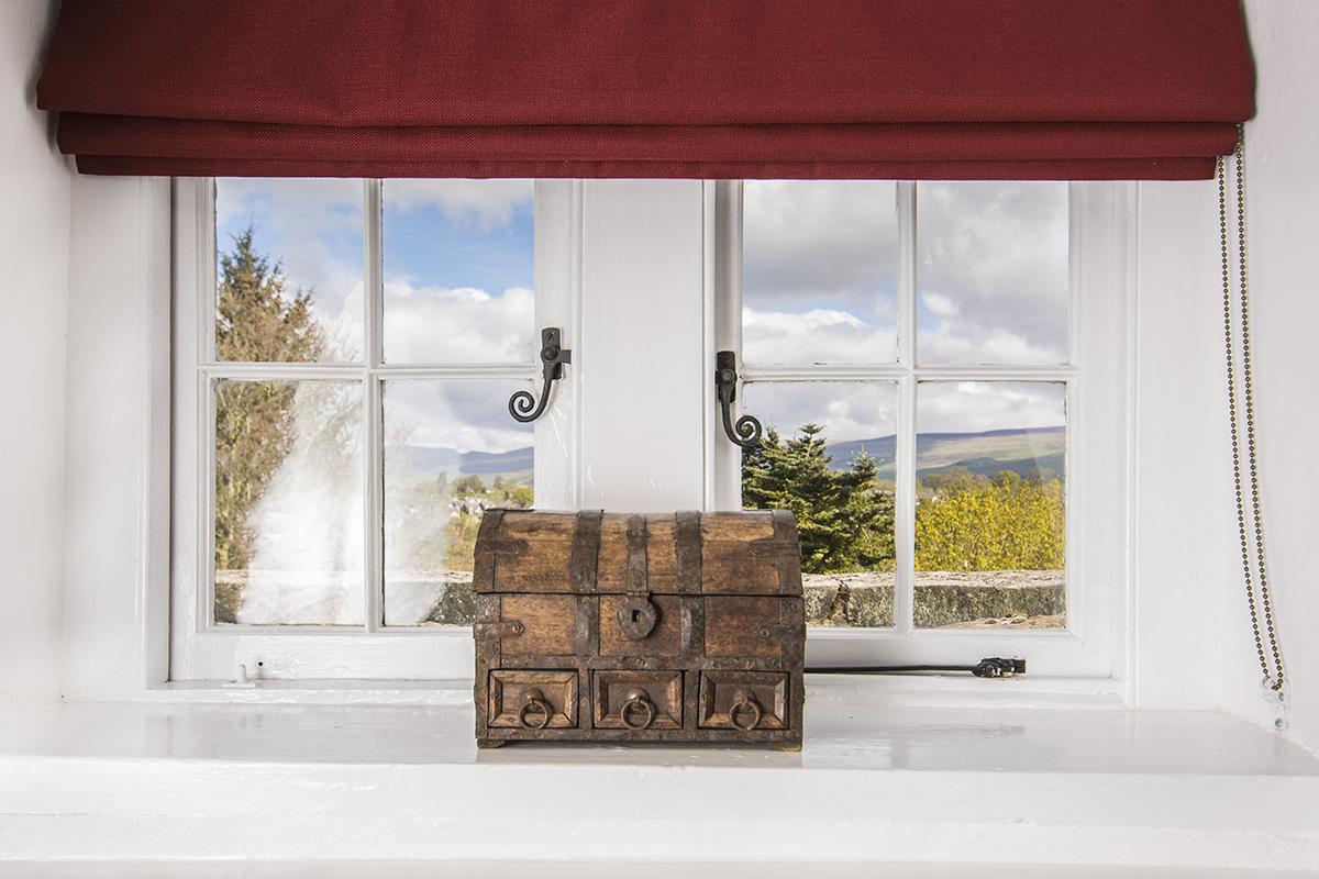Appleby Castle's Russel Suite bedroom window view of Cumbria