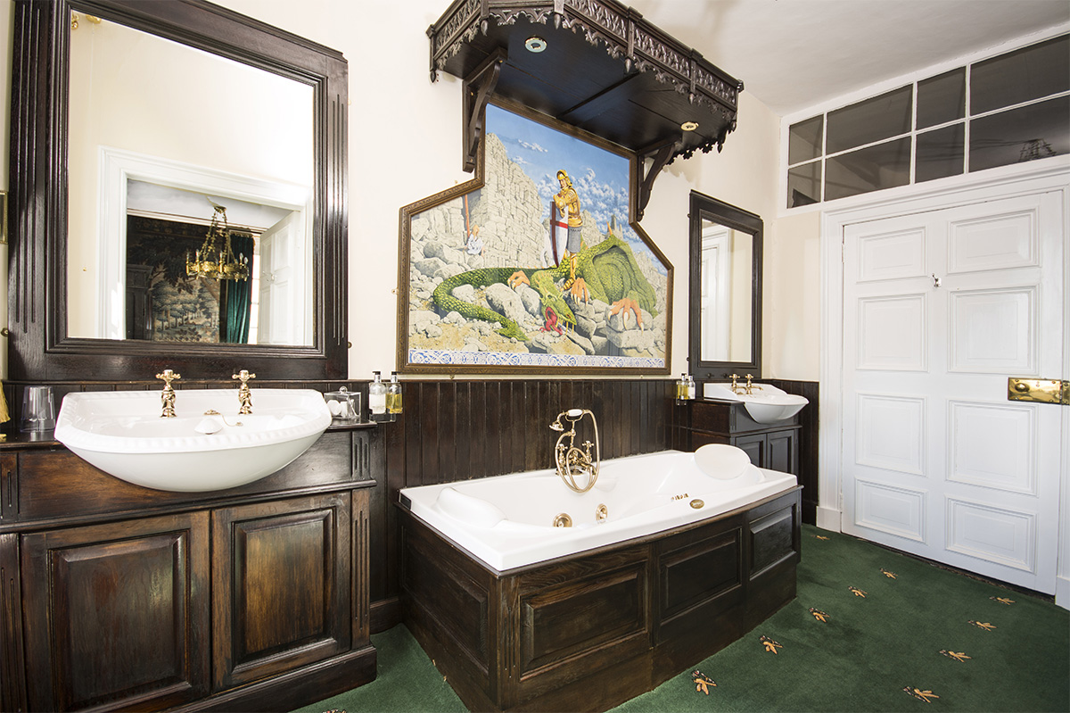 Large stylish bathroom in Appleby Castle in Cumbria