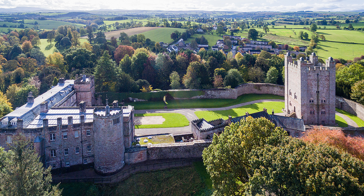 Aerial view of Appleby Castle and the Norman Keep in Autumn