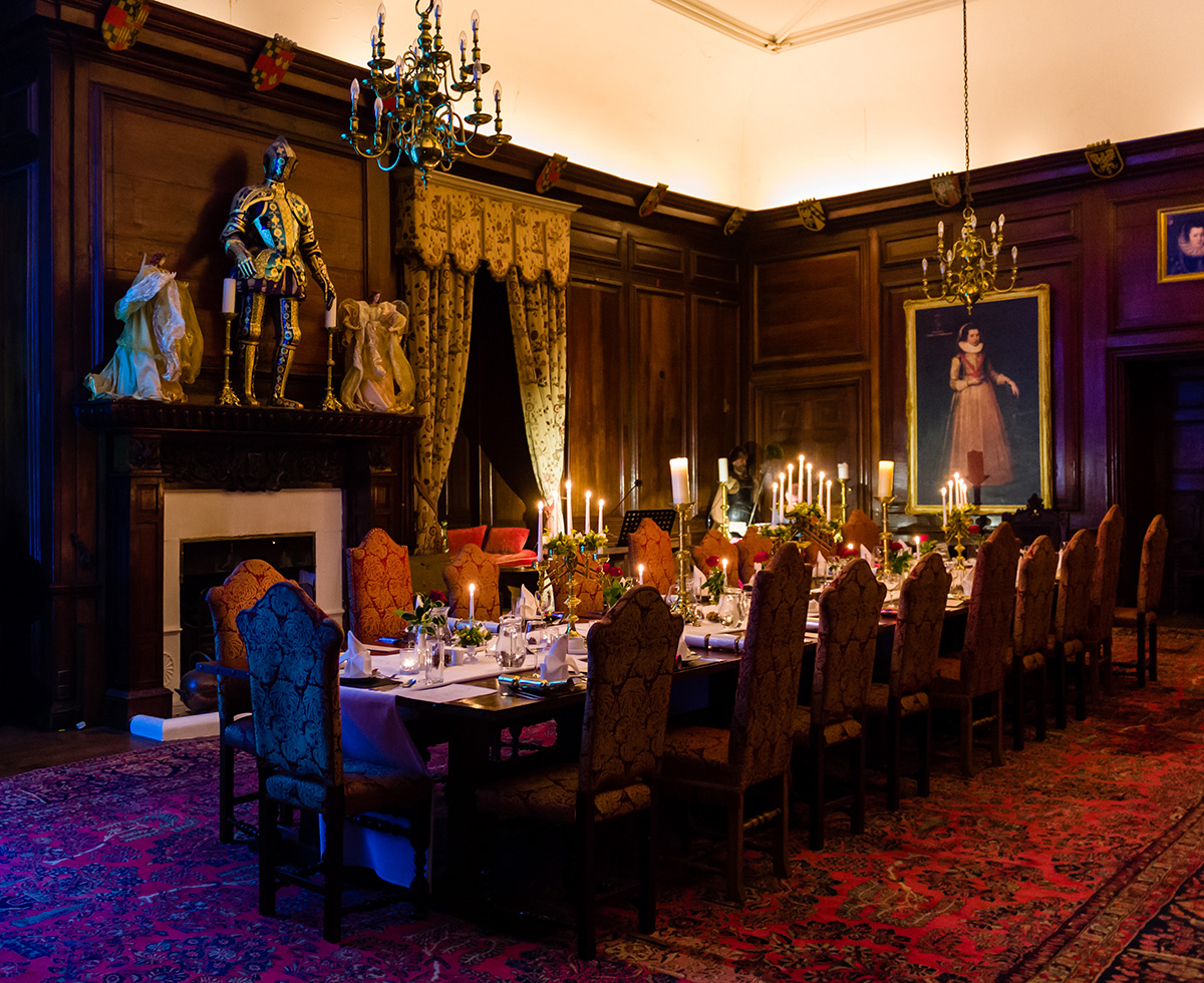Dining table ready for a Christmas banquet in the Great Hall at Appleby Castle