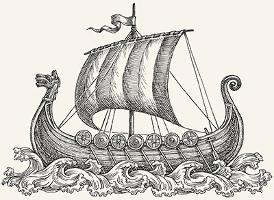 Drawing of a Viking longboat