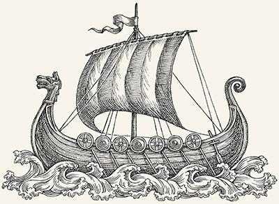 Drawing of a Viking longboat